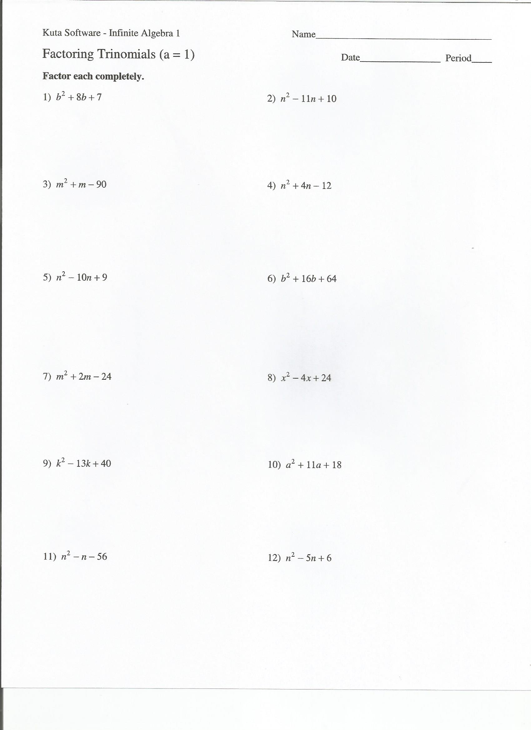 Worksheets Factoring Trinomials A 1 Worksheet Answers algebra assignment heidemann 8th grade math 5th period pre daily calendar mr heidenreich s 2 web page 65279new factoring trinomials 1
